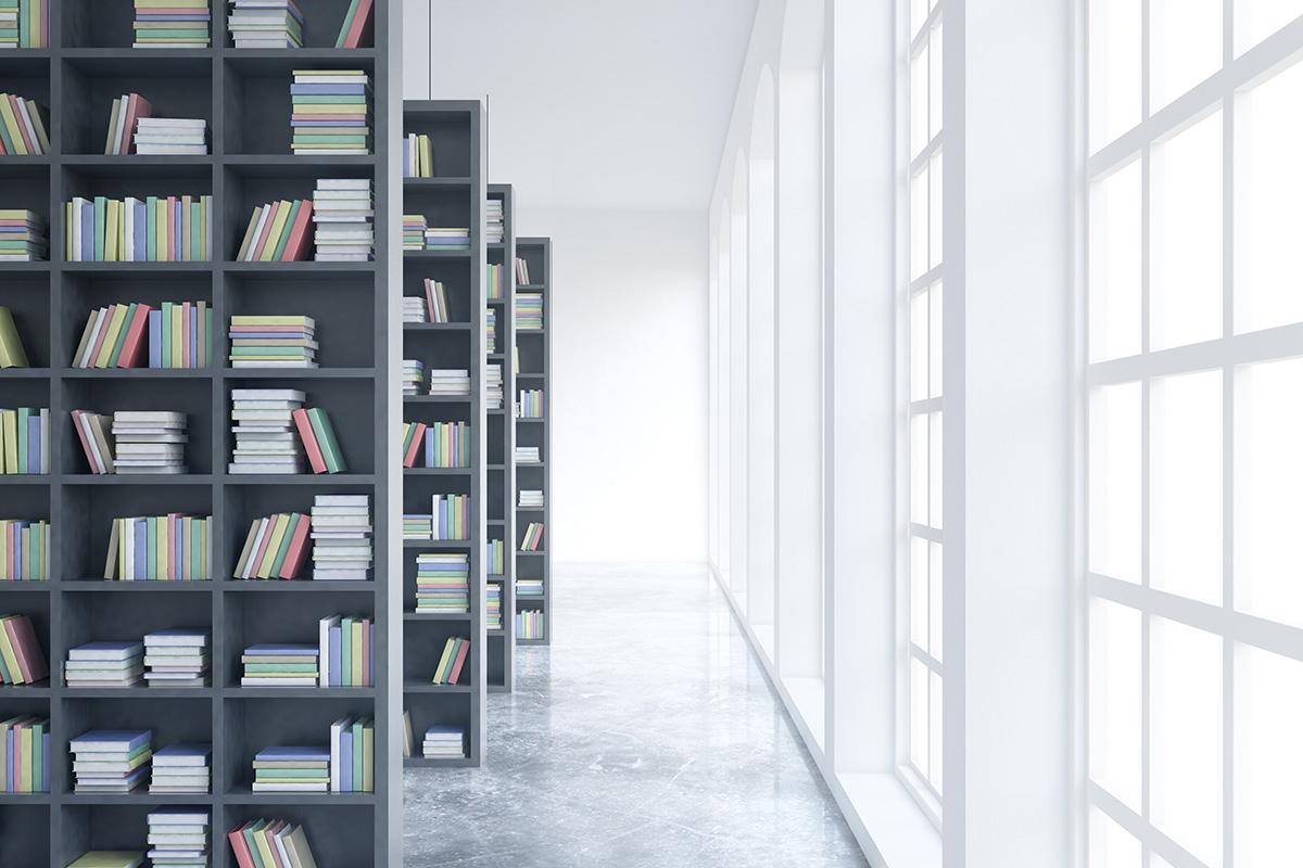 Décor de bibliothèque avec verrière