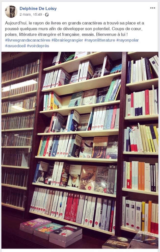 Publication Facebook de librairei Grangier à Dijon